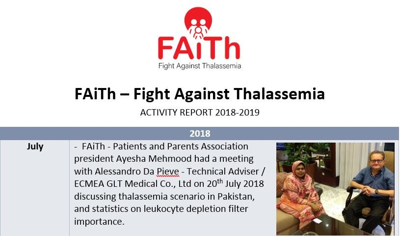 Photo of FAiTh – Fight Against Thalassemia Activities report 2018-19